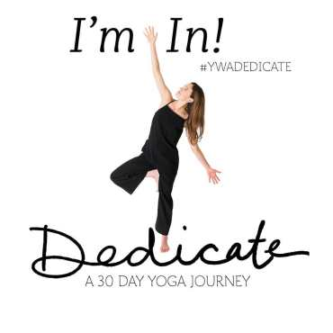 "Image of Adriene Mischler reaching upward with text reading ""I'm In! Dedicate A 30 Day Yoga Journey"""